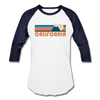 California Baseball T-Shirt - Retro Mountain Unisex California Raglan T Shirt - white/navy