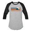 California Baseball T-Shirt - Retro Mountain Unisex California Raglan T Shirt - heather gray/black