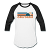 California Baseball T-Shirt - Retro Mountain Unisex California Raglan T Shirt - white/black