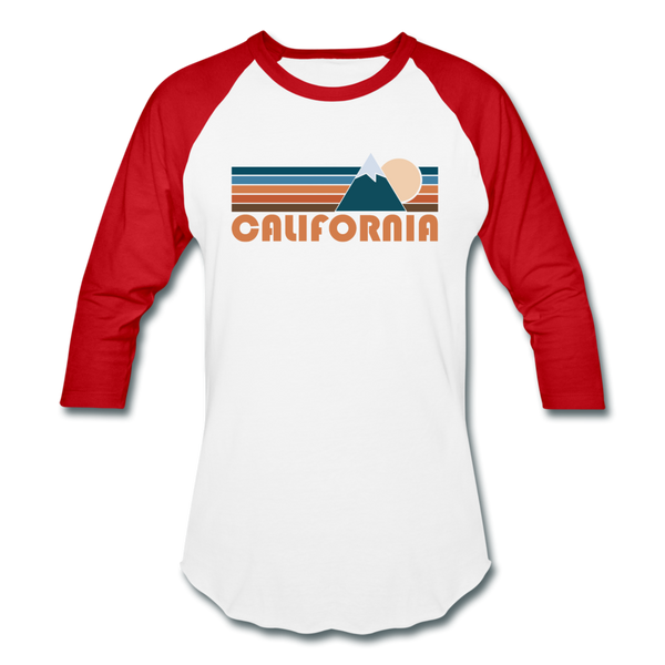 California Baseball T-Shirt - Retro Mountain Unisex California Raglan T Shirt - white/red