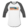 California Baseball T-Shirt - Retro Mountain Unisex California Raglan T Shirt - white/charcoal