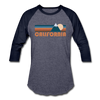 California Baseball T-Shirt - Retro Mountain Unisex California Raglan T Shirt - heather blue/navy
