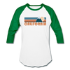 California Baseball T-Shirt - Retro Mountain Unisex California Raglan T Shirt - white/kelly green