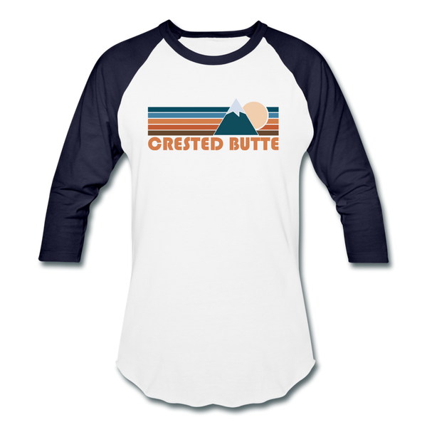 Crested Butte, Colorado Baseball T-Shirt - Retro Mountain Unisex Crested Butte Raglan T Shirt - white/navy