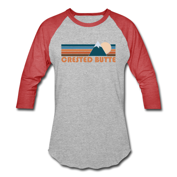 Crested Butte, Colorado Baseball T-Shirt - Retro Mountain Unisex Crested Butte Raglan T Shirt - heather gray/red