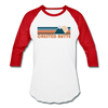 Crested Butte, Colorado Baseball T-Shirt - Retro Mountain Unisex Crested Butte Raglan T Shirt - white/red