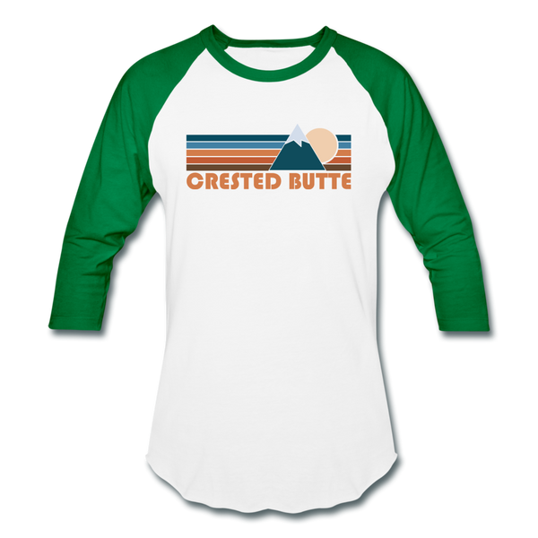 Crested Butte, Colorado Baseball T-Shirt - Retro Mountain Unisex Crested Butte Raglan T Shirt - white/kelly green