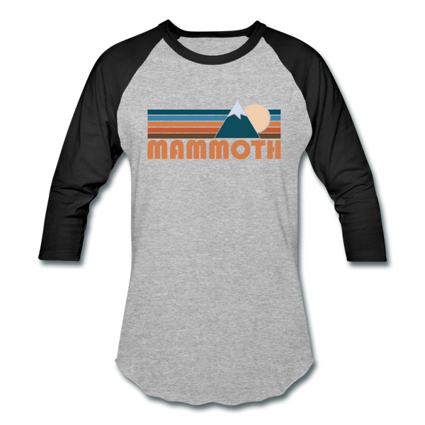 Mammoth, California Baseball T-Shirt - Retro Mountain Unisex Mammoth Raglan T Shirt - heather gray/black