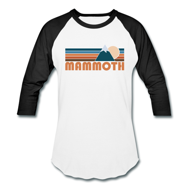 Mammoth, California Baseball T-Shirt - Retro Mountain Unisex Mammoth Raglan T Shirt - white/black