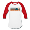 Mammoth, California Baseball T-Shirt - Retro Mountain Unisex Mammoth Raglan T Shirt - white/red