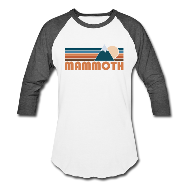 Mammoth, California Baseball T-Shirt - Retro Mountain Unisex Mammoth Raglan T Shirt - white/charcoal