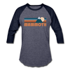 Mammoth, California Baseball T-Shirt - Retro Mountain Unisex Mammoth Raglan T Shirt - heather blue/navy