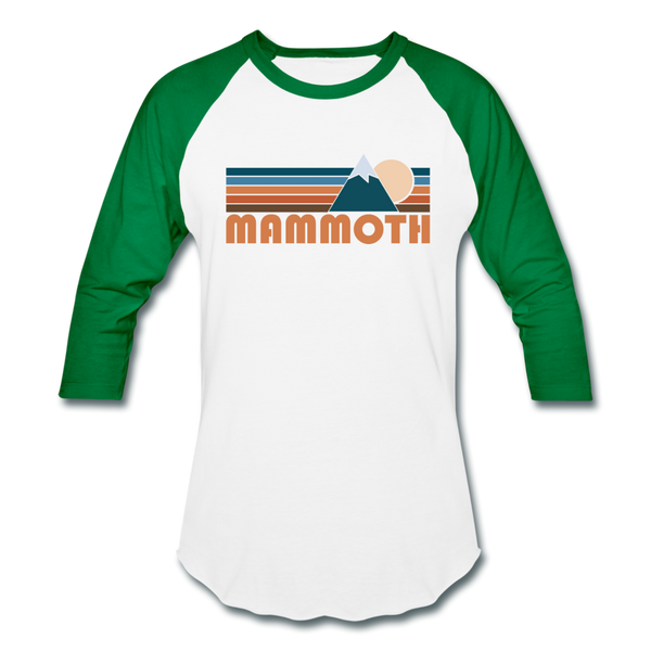 Mammoth, California Baseball T-Shirt - Retro Mountain Unisex Mammoth Raglan T Shirt - white/kelly green