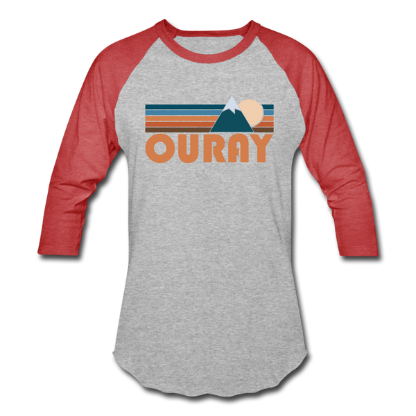 Ouray, Colorado Baseball T-Shirt - Retro Mountain Unisex Ouray Raglan T Shirt - heather gray/red