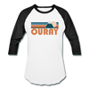 Ouray, Colorado Baseball T-Shirt - Retro Mountain Unisex Ouray Raglan T Shirt - white/black
