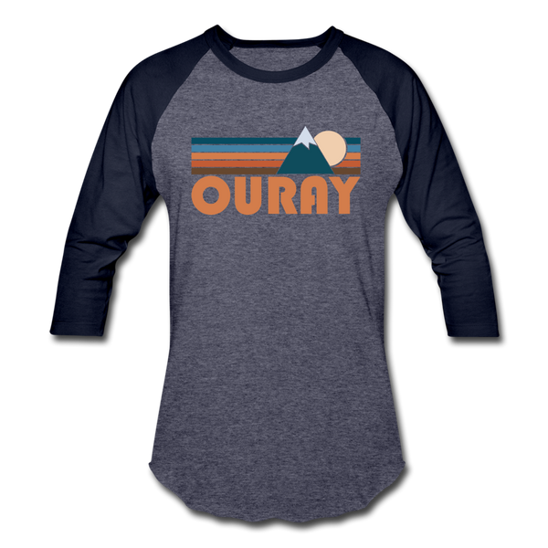 Ouray, Colorado Baseball T-Shirt - Retro Mountain Unisex Ouray Raglan T Shirt - heather blue/navy