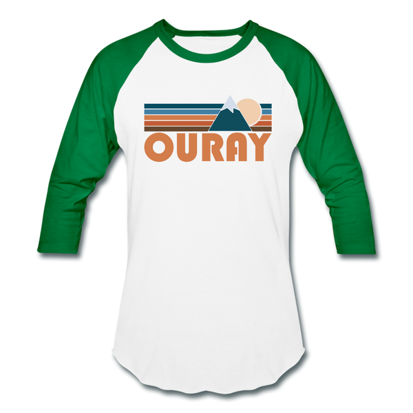 Ouray, Colorado Baseball T-Shirt - Retro Mountain Unisex Ouray Raglan T Shirt - white/kelly green