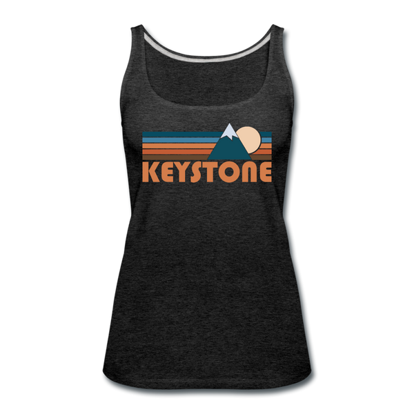 Keystone, Colorado Women's Tank Top - Retro Mountain Women's Keystone Tank Top - charcoal gray