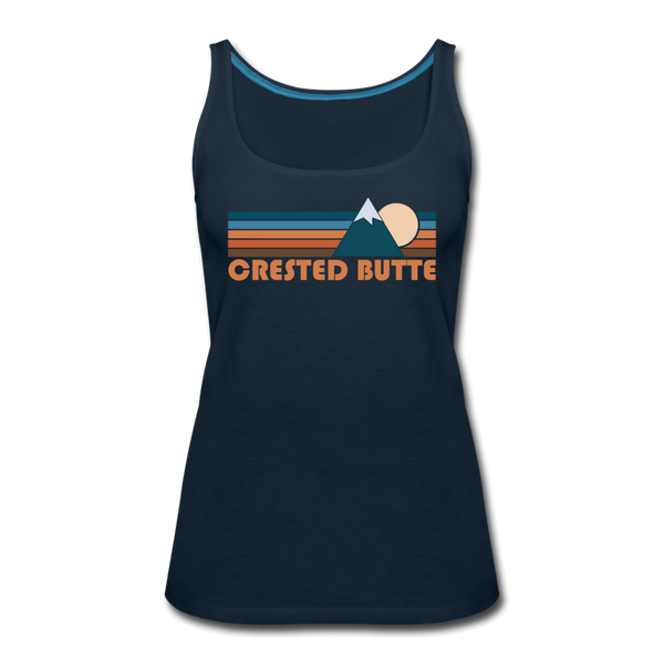 Crested Butte, Colorado Women's Tank Top - Retro Mountain Women's Crested Butte Tank Top - deep navy