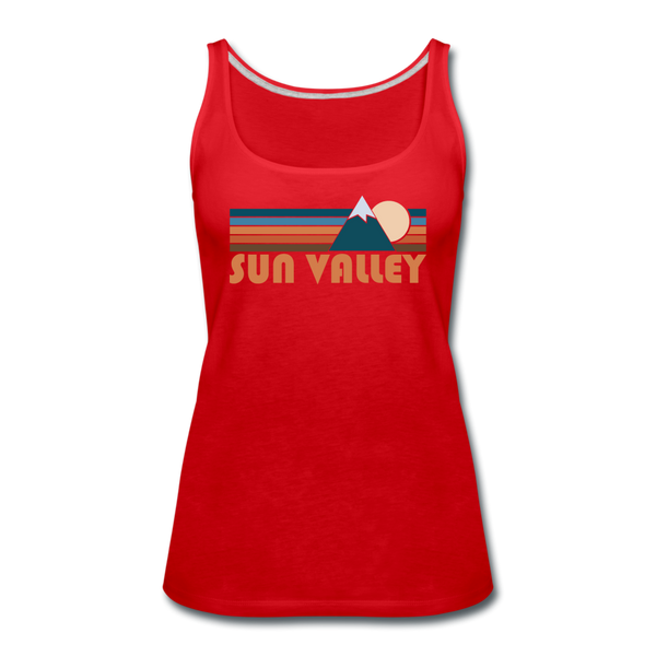 Sun Valley, Idaho Women's Tank Top - Retro Mountain Women's Sun Valley Tank Top - red