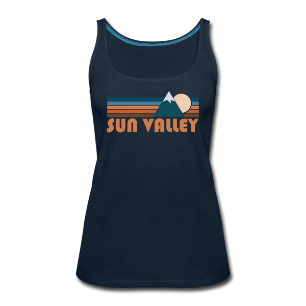 Sun Valley, Idaho Women's Tank Top - Retro Mountain Women's Sun Valley Tank Top - deep navy
