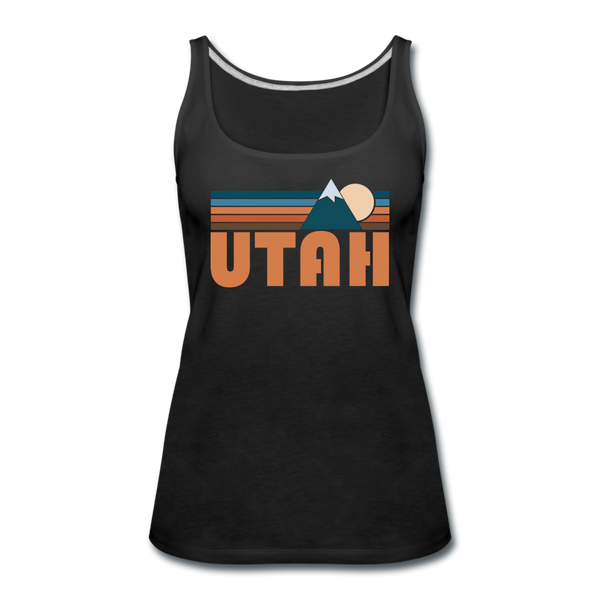 Utah Women's Tank Top - Retro Mountain Women's Utah Tank Top - black