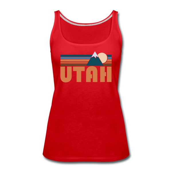 Utah Women's Tank Top - Retro Mountain Women's Utah Tank Top - red