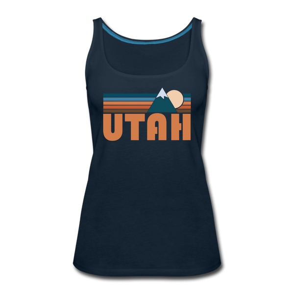 Utah Women's Tank Top - Retro Mountain Women's Utah Tank Top - deep navy