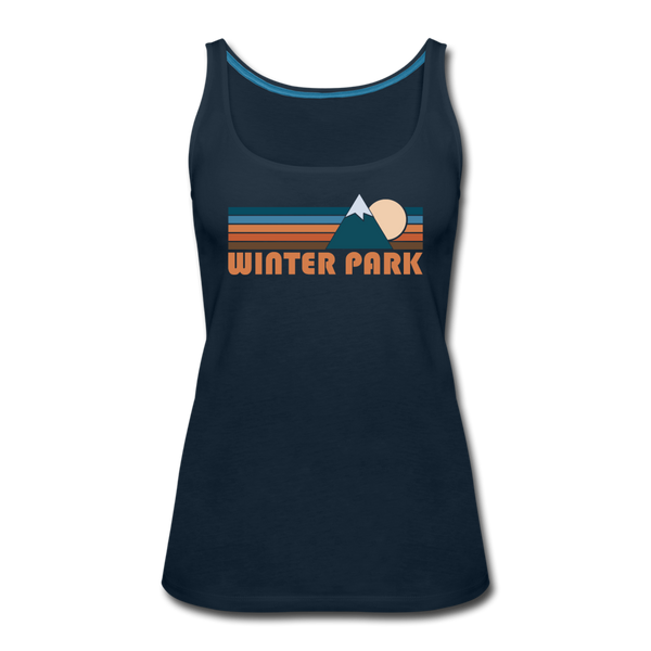 Winter Park, Colorado Women's Tank Top - Retro Mountain Women's Winter Park Tank Top - deep navy