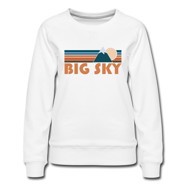 Big Sky, Montana Women's Sweatshirt - Retro Mountain Women's Big Sky Crewneck Sweatshirt - white