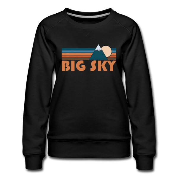 Big Sky, Montana Women's Sweatshirt - Retro Mountain Women's Big Sky Crewneck Sweatshirt - black