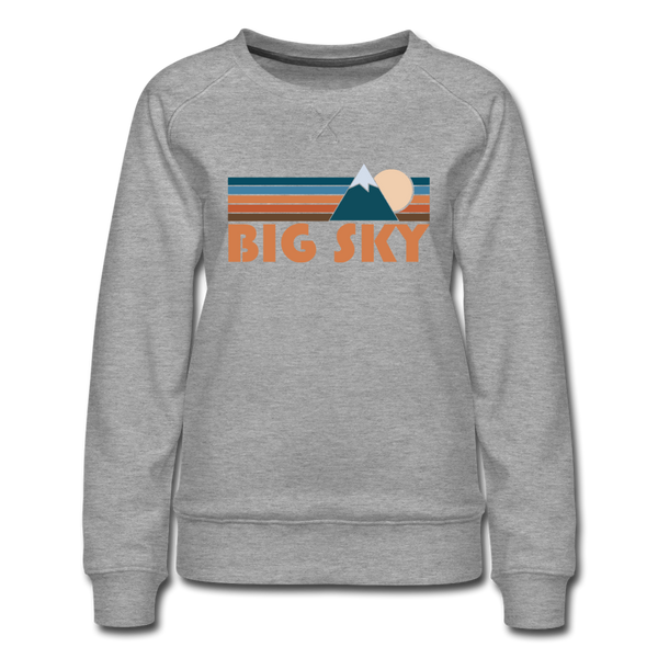 Big Sky, Montana Women's Sweatshirt - Retro Mountain Women's Big Sky Crewneck Sweatshirt - heather gray