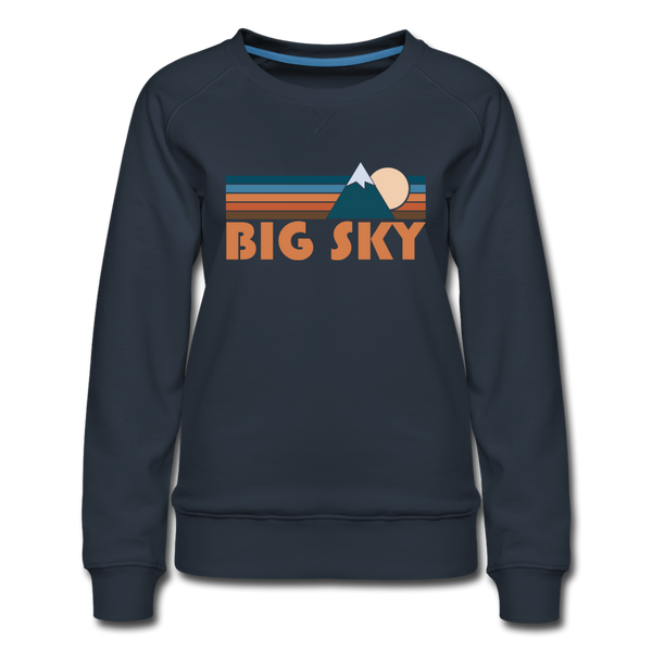 Big Sky, Montana Women's Sweatshirt - Retro Mountain Women's Big Sky Crewneck Sweatshirt - navy