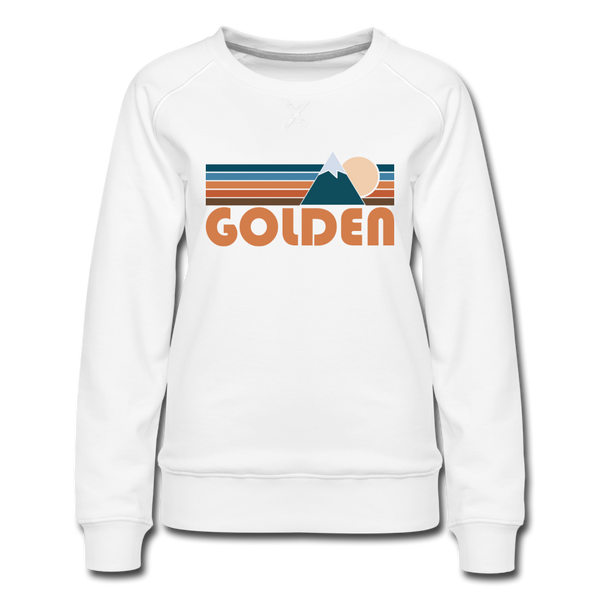 Golden, Colorado Women's Sweatshirt - Retro Mountain Women's Golden Crewneck Sweatshirt - white