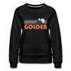 Golden, Colorado Women's Sweatshirt - Retro Mountain Women's Golden Crewneck Sweatshirt - black