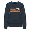 Golden, Colorado Women's Sweatshirt - Retro Mountain Women's Golden Crewneck Sweatshirt - navy