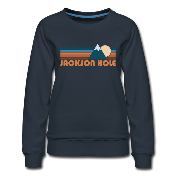 Jackson Hole, Wyoming Women's Sweatshirt - Retro Mountain Women's Jackson Hole Crewneck Sweatshirt - navy