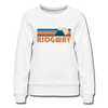 Ridgway, Colorado Women's Sweatshirt - Retro Mountain Women's Ridgway Crewneck Sweatshirt - white