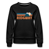 Ridgway, Colorado Women's Sweatshirt - Retro Mountain Women's Ridgway Crewneck Sweatshirt - black