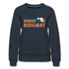 Ridgway, Colorado Women's Sweatshirt - Retro Mountain Women's Ridgway Crewneck Sweatshirt - navy