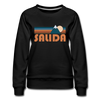 Salida, Colorado Women's Sweatshirt - Retro Mountain Women's Salida Crewneck Sweatshirt - black
