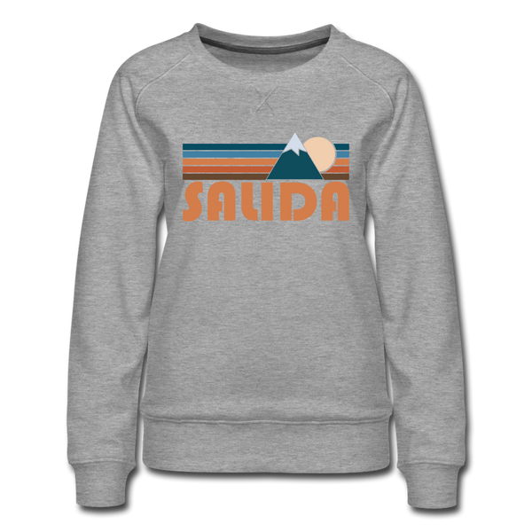 Salida, Colorado Women's Sweatshirt - Retro Mountain Women's Salida Crewneck Sweatshirt - heather gray