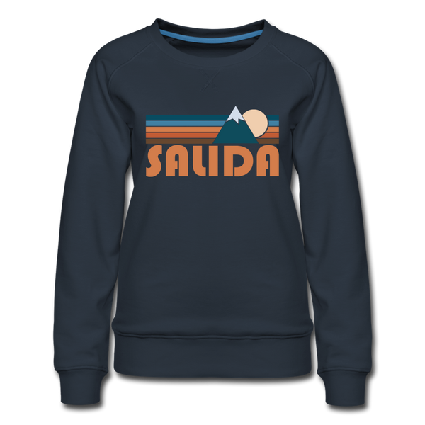 Salida, Colorado Women's Sweatshirt - Retro Mountain Women's Salida Crewneck Sweatshirt - navy