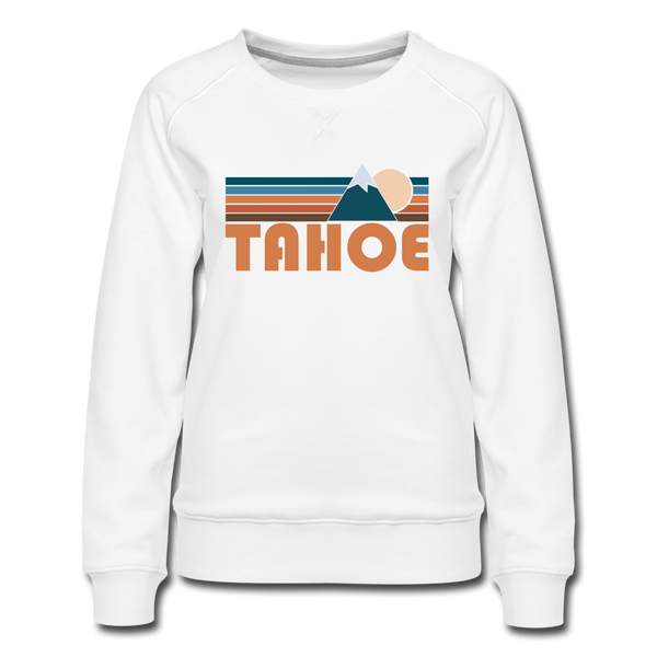 Tahoe, California Women's Sweatshirt - Retro Mountain Women's Tahoe Crewneck Sweatshirt - white