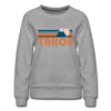 Tahoe, California Women's Sweatshirt - Retro Mountain Women's Tahoe Crewneck Sweatshirt - heather gray
