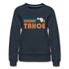 Tahoe, California Women's Sweatshirt - Retro Mountain Women's Tahoe Crewneck Sweatshirt - navy