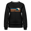 North Carolina Women's Sweatshirt - Retro Mountain Women's North Carolina Crewneck Sweatshirt - black
