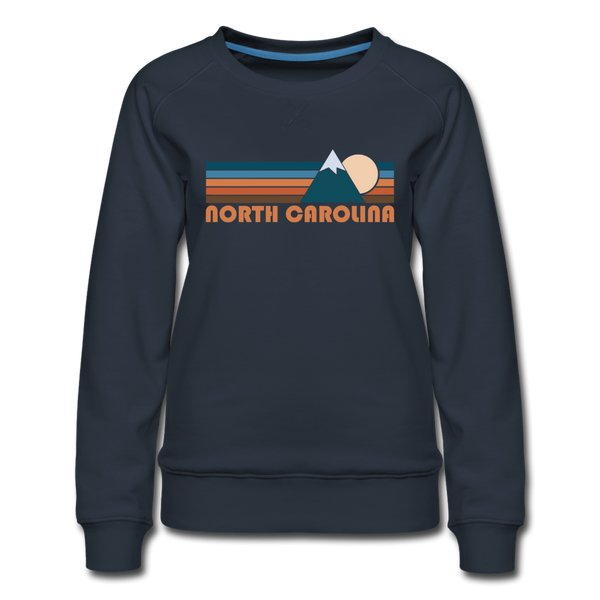 North Carolina Women's Sweatshirt - Retro Mountain Women's North Carolina Crewneck Sweatshirt - navy