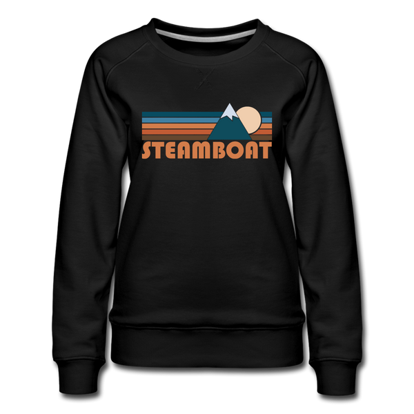 Steamboat, Colorado Women's Sweatshirt - Retro Mountain Women's Steamboat Crewneck Sweatshirt - black