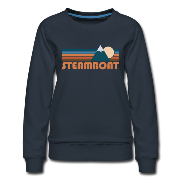 Steamboat, Colorado Women's Sweatshirt - Retro Mountain Women's Steamboat Crewneck Sweatshirt - navy
